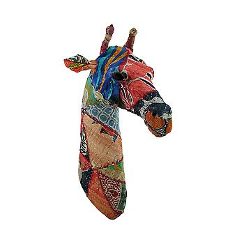 Recycled 20 Inch Fabric Covered Giraffe Head Wall Mount Bust
