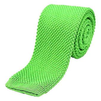 David Van Hagen Plain Thin Knitted Tie - Lime Green
