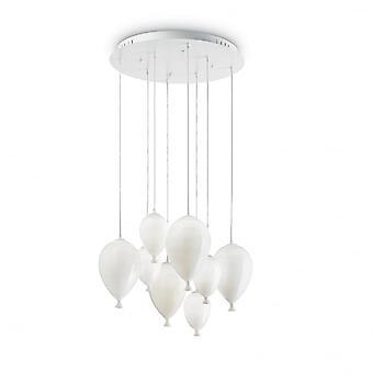 Ideel Lux klovn 8 glas boblen hvidt glas vedhæng lys