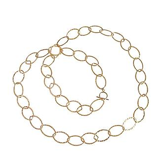 Gemshine - ladies - necklace - gold - plated hammered - 90 cm