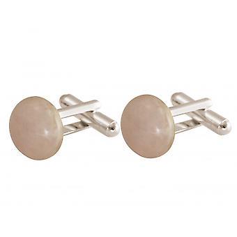 Gemshine - manschettknappar - 925 Silver - rosenkvarts - ros - 12 mm