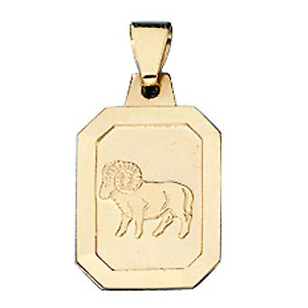 Trailer zodiac sign Aries 333 frosted gold yellow gold Zodiac pendants
