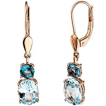 Earrings boutons 585 gold Rose Gold 2 blue topazes light blue blue earrings