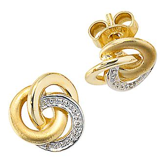 Earrings-585/g 0, 01 ct. Knot earrings gold earrings gold partly rhodium-plated