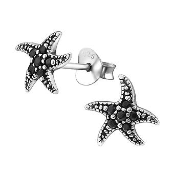 Starfish - 925 Sterling Silver Cubic Zirconia Ear Studs - W30807X