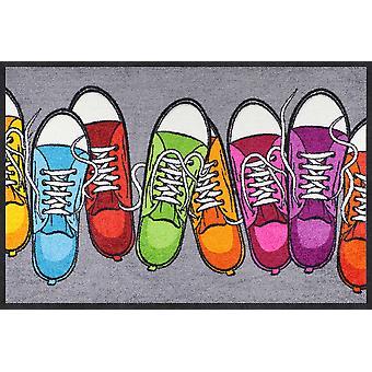 Salon lion doormat colorful sneakers 50 x 75 cm washable dirt mat