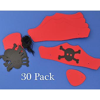30 Red Card Pirate Hats & Patches Kit for Kids Crafts & Parties