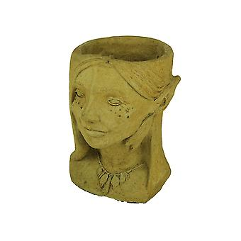 Designer Stone Harvest Yellow Fairy Head Concrete Planter