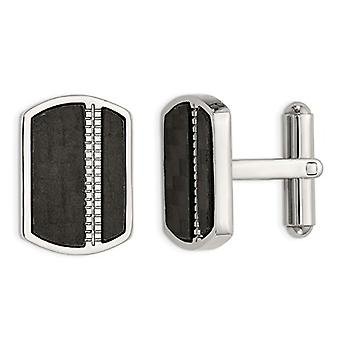Stainless Steel Polished Cuff Links with Black Carbon fiber