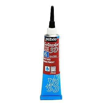 Pebeo Setacolor 3D Gloss Fabric Paint 20ml - 45 Pepper Red