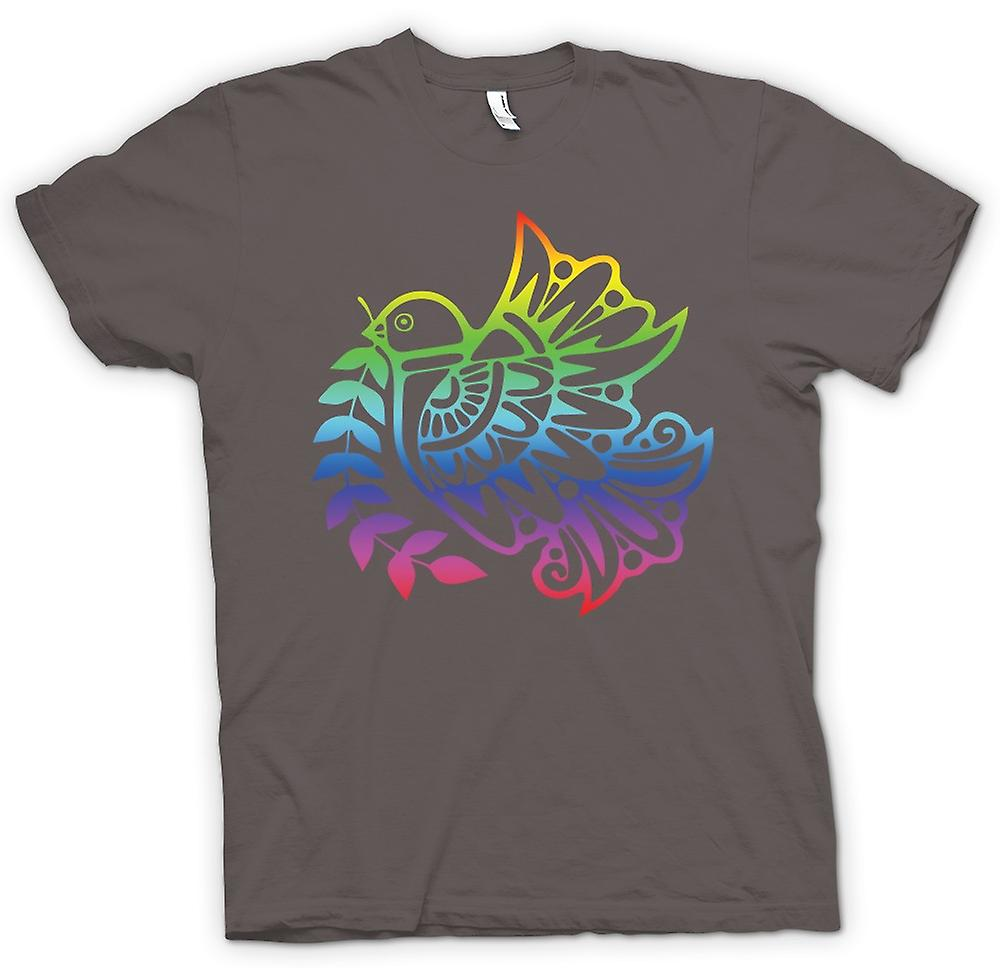 Womens T-shirt - Peace Dove Rainbow - Cool