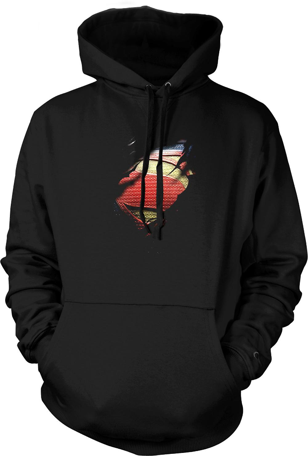 Mens Hoodie - New Super Man Costume - Superhero Ripped Design
