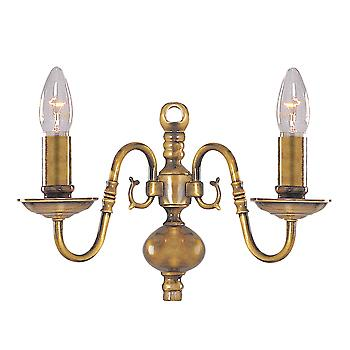 Searchlight 1019-2AB Flemish Antique Brass Wall Light