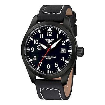 KHS watches mens watch Airleader black steel KHS. AIRBS. LBB