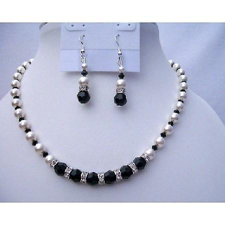 Swarovski Jet Crystals White Pearls Jewelry Fine Necklace Sets