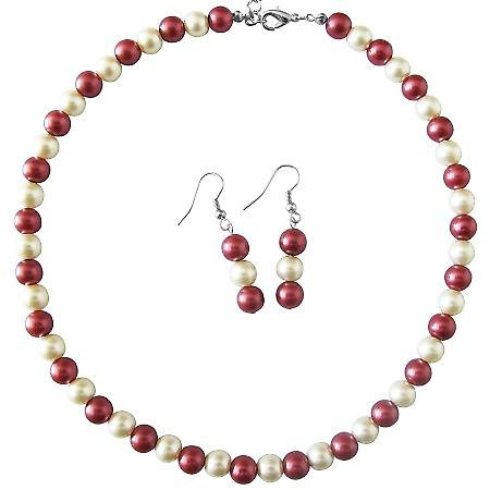 Wedding Jewelry Fashion Jewelry For Everyone Red Cream Pearls Necklace