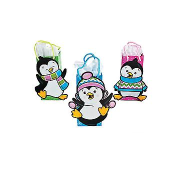 12 Assorted Penguin Party Gift Bags for Christmas Gift Wrapping