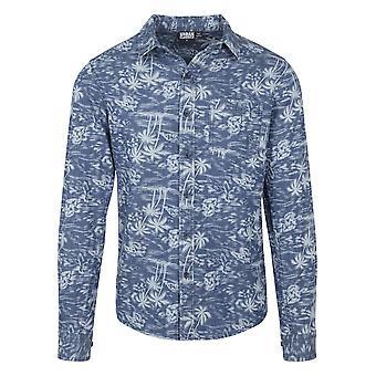 Цикл классики мужчин длинный рукав рубашки напечатаны Palm джинсовая