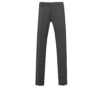 Dobell Mens Charcoal Suit Trousers Regular Fit Windowpane Check