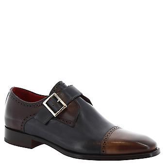 Chaussures de moine à la main de l'homme en cuir de veau multicolor