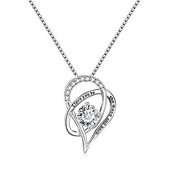 """925 Sterling Silver """"i Love You To The Moon And Back"""" Pendant Necklace"""