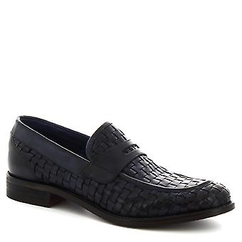 Leonardo Shoes Men's handmade round toe loafers in blue woven calf leather