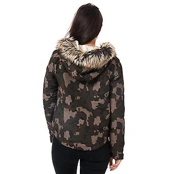 Womens Only Skylar Faux Fur Trim Parka In Desert Taupe / Camo