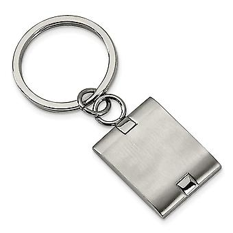 Men's Stainless Steel Brushed Key Chain - Engravable Personalized Gift Item