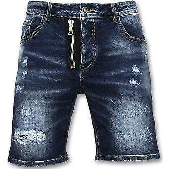 Men's denim shorts-three-quarters pants-J975-Blue