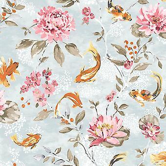 Koi Carp Water Lilies Floral Wallpaper Beige White Fish Paste Wall Holden Décor
