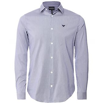 Armani Stretch Cotton Poplin Check Shirt