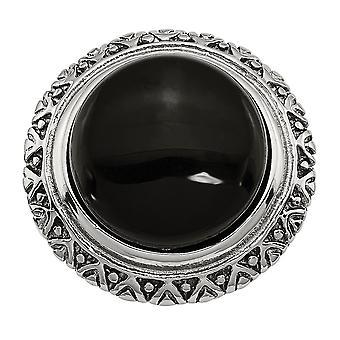 Edelstahl poliert, schwarzes Glas mit strukturiertem Rand Ring - Ring-Größe: 7 bis 9