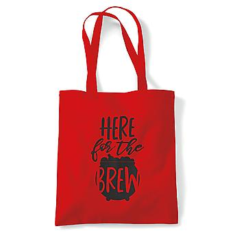 Here For The Brew Tote | Halloween Fancy Dress Costume Trick Or Treat | Reusable Shopping Cotton Canvas Long Handled Natural Shopper Eco-Friendly Fashion