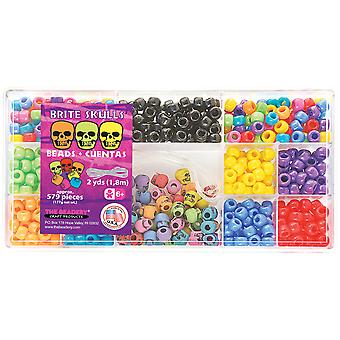 Bead Box Kit 579 Beads Pkg Brite Skulls B6470