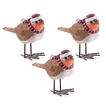Set of 3 Christmas Robin Ornaments in Hats & Scarves