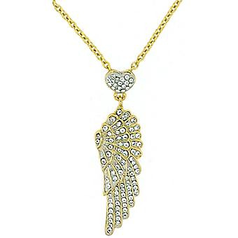 Butler and Wilson Small Crystal Wing and Heart Pendant Gold