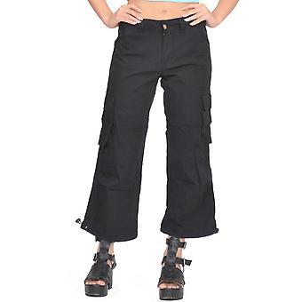 Jambes larges lâche Shorts longs 3/4 longueur Capri pantalon en coton - noir