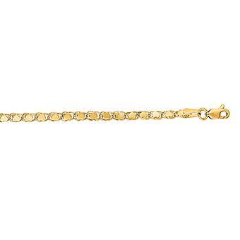 14 k Gelb Gold 2,9 mm Sparkle-Cut Herz Kette mit Hummer Spange Fußkettchen - 3,8 g - 10 Zoll