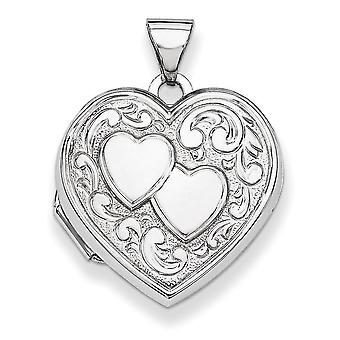 Sterling Silver Polished Patterned Holds 2 photos Heart Locket - 1.8 Grams