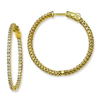 Sterling Silver Yellow Plated With CZ Hinged Hoop Earrings