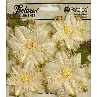 Textured Elements Poinsettias 4/Pkg-Ivory RS1258-200