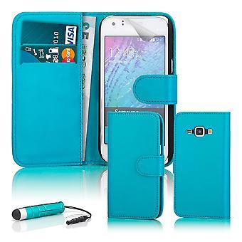 Boken wallet case + penna för Samsung Galaxy Trend 2 Lite - Light Blue