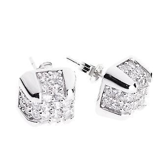 Sterling 925er Silber Ohrstecker - BOX MICRO PAVE 10mm