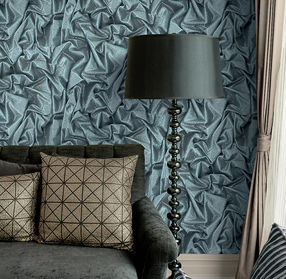 3D Modern Wallpaper Crushed Satin Luxury Glitter Effect Blue Black White Muriva