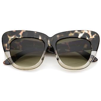 Oversize Frame Wide Temple Square Lens Cat Eye zonnebril afgedrukt 55mm