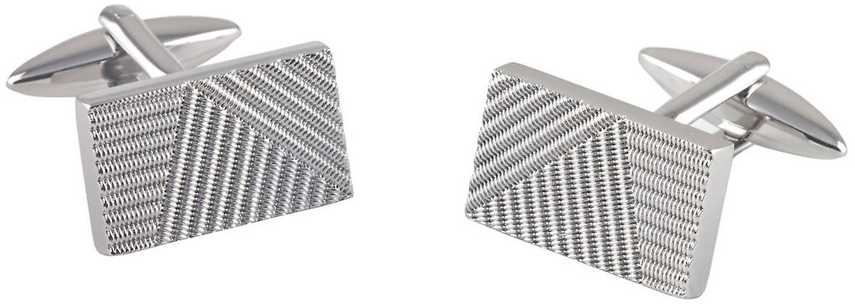 David Van Hagen Ribbed Stripe Effect Rectangle Cufflinks - Silver
