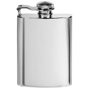 Orton West 4oz Kidney Shaped Pewter Hip Flask - Silver