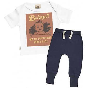Spoilt Rotten Not All Superhero's Wear A Cape! Baby T-Shirt & Navy Joggers Outfit Set