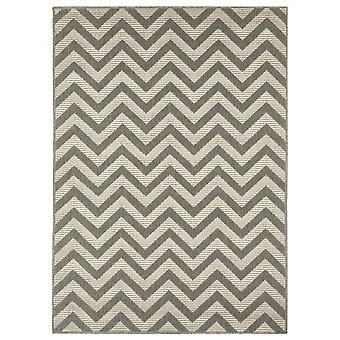 In - and outdoor carpet balcony / living room zigzag grey natural, 133 x 190 cm