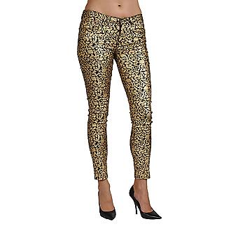 Women's Print Coated Floral Gold Skinny Junior Size Jeans